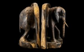 Pair of Unusual Extra Large Carved Hard-