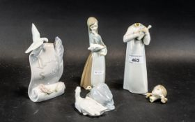 A Collection of 4 Lladro Porcelain Piece