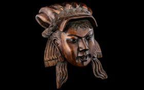 Antique Wooden Plaque, hardwood carving