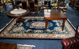 Large Wool Carpet/Rug, dark blue ground