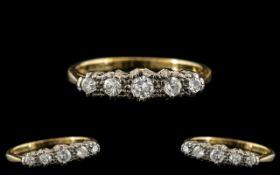 18ct Gold and Platinum 5 Stone Diamond R
