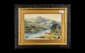 Antique Watercolour River Scene, with a