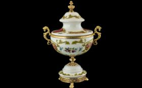 Italian Hand Painted Lidded Vase with Or