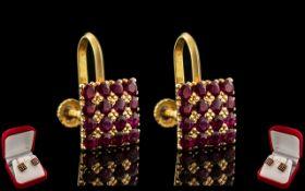 Ladies - Superb Pair of 18ct Gold Ruby S