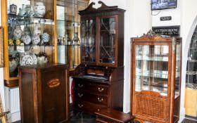 Antique Mahogany Roll Top Bureau Bookcas