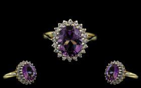 18ct Gold - Amethyst and Diamond Set Clu