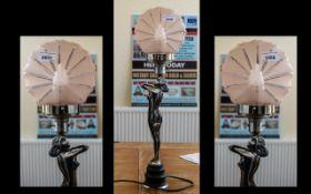 An Art Deco Period Chrome Lamp in the sh