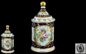 Hand Painted Lidded Jar of nice quality,