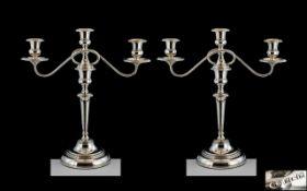 Elizabeth II Impressive Pair of Fine Quality Sterling Silver Two Branch Candelabra,