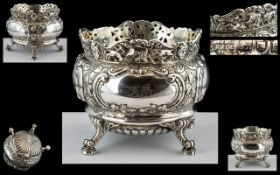 Edwardian Period Superb Sterling Silver Ornate Footed Bowl, with cast border of face masks and