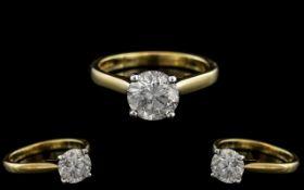 Ladies 18ct Yellow Gold Single Stone Diamond Set Ring. Full Hallmarks to Interior of Shank. Colour