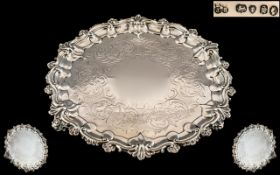 Edward & John Barnard Silver Salver, with a cast shell and pie crust border,