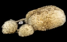 Vintage Ladies Italian Fun Fur Hat, with side ties with pom-poms. In a cream coloured fur.