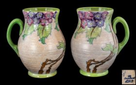 Charlotte Rhead Signed Crown Ducal Hand Painted Pair of Large Jugs ' Ribbed Design ' c.1930's. '