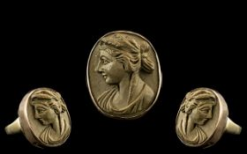Victorian 9ct Rose Gold Mounted - Finely Carved Lava Cameo. c.1850. With Later Shank.