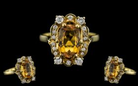 18ct Gold Superb Citrine and Diamond Set Dress Ring. Full Hallmark to Interior of Shank.
