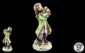 Sitzendorf Monkey Band Figure, Monkey Figure Playing Flute, Stamped Underside, 4 Inches In Height.