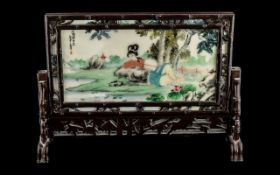 Chinese 20thC White Marble Table Screen, decorated in watercolours,