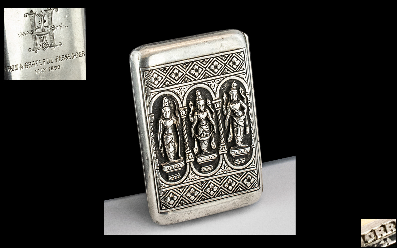 Indian Colonial Interest - Embossed Presentation Cigarette Case, decorated to the front with three