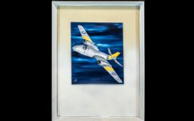 Oil on Board of British Fighter Jet. Oil Painting of a Fighter Jet, Signed and Dated Bottom Left.