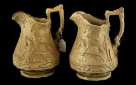 Pair of Biscuit Moulded Pottery Jugs by Ridgeway & Company, published 1845. Depicting Knights
