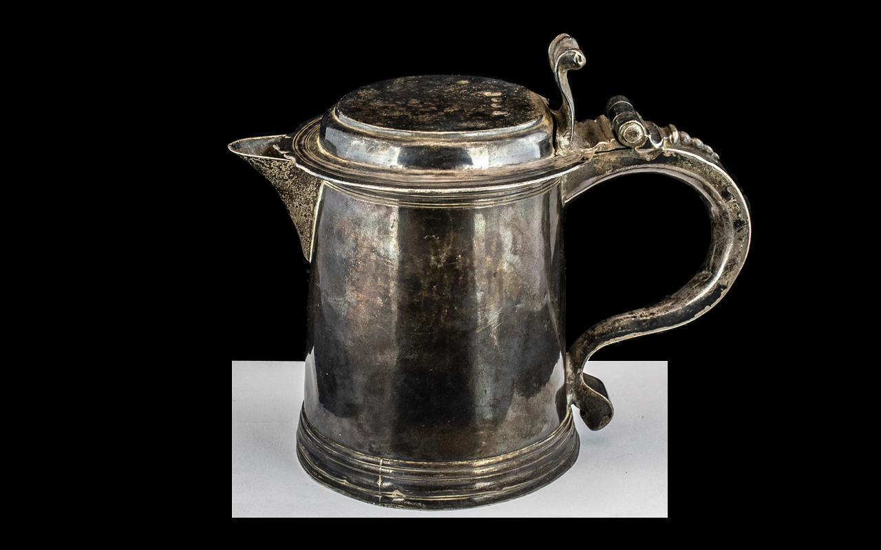 William III Silver Tankard By Richard Green, London 1697. Plain Tapering Cylindrical Body. Later