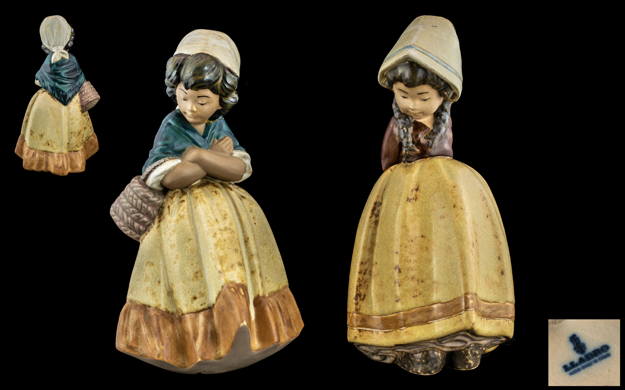 Lladro Gres Pair of Hand Painted Figures. Comprises 1/ Girl Waiting, Model No 2093, Issued 1978 -