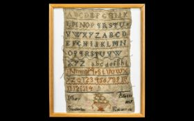 Georgian Sampler. Antique Sampler 1827 with Upper and Lower Case Letters and Numbers.
