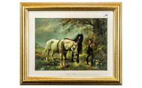 Signed Oil Painting on Panel By F Peto, depicting a farmer with two cart horses and a dog,