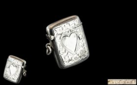 Edwardian Silver Vesta Case with Heart Shaped Cartouche.