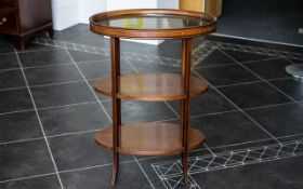 Edwardian Butler's Three Tier Table with removable glass gallery tray to top, the table of