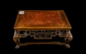 Chinese Carved Hardwood Table Stand, the central panel to the top is fitted with mulberry wood,