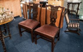 Two Chippendale Style Walnut Stand Chairs, drop in seats.