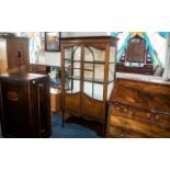 Edwardian Display Cabinet, double doors, glass inlaid display cabinet, with two interior cloth lined