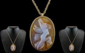 Early Victorian Period Superb Quality - After the Antique Carved Sardonyx Hardstone Shell Cameo