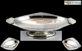 Art Deco Period Superb - Sterling Silver Twin Bakelite Handle Pedestal Dish of Pleasing Design /