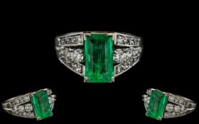 18ct White Gold - Superb Quality Emerald and Diamond Set Dress Ring. c.1930's.