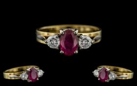 18ct Gold and Palladium - Superb and Attractive Ruby and Diamond 3 Stone Ring. Marked 750 and Pall.