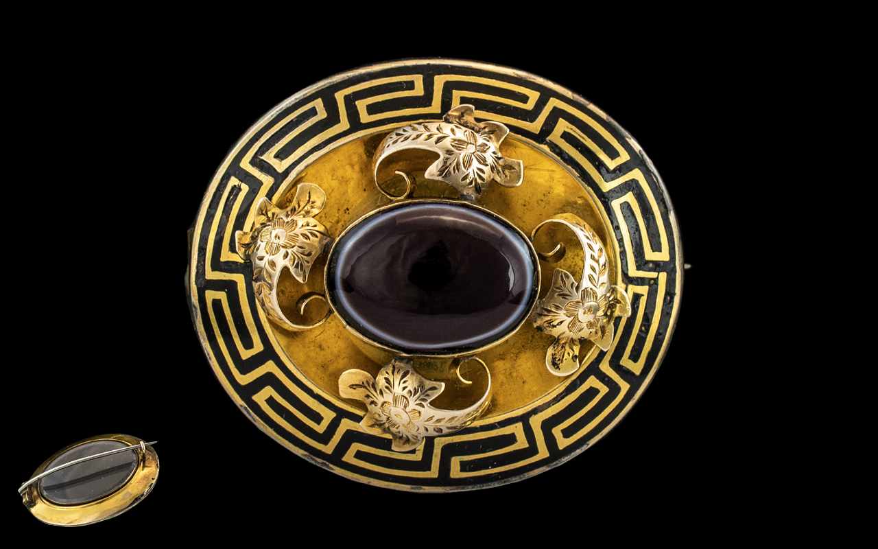 Extremely Fine Quality Pinchbeck Mourning Brooch of Superior Workmanship,