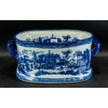 Large Blue & White Pottery Foot Bath, with a Victoria ware mark to base, a/f.