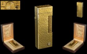 Dunhill - Swiss Made Superb Gold Plated Lighter In a Bark Finish Design. Heavy Gold Finish. c.