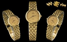 Omega - Ladies Superb 18ct Gold Deville Wrist Watch. Full Hallmark for 750 - 18ct.