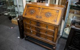 Jacobean Style Edwardian Oak Fall Front Bureau, with a fitted interior.