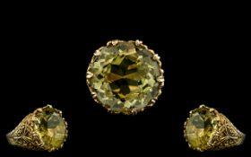 9ct Gold - Pleasing Large and Impressive Single Stone Golden Beryl Set Ring,
