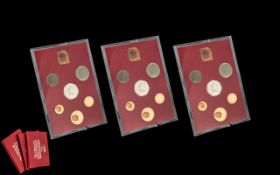 Three 1973 Royal Mint Proof Coin Sets Coinage of Great Britain and Northern Ireland
