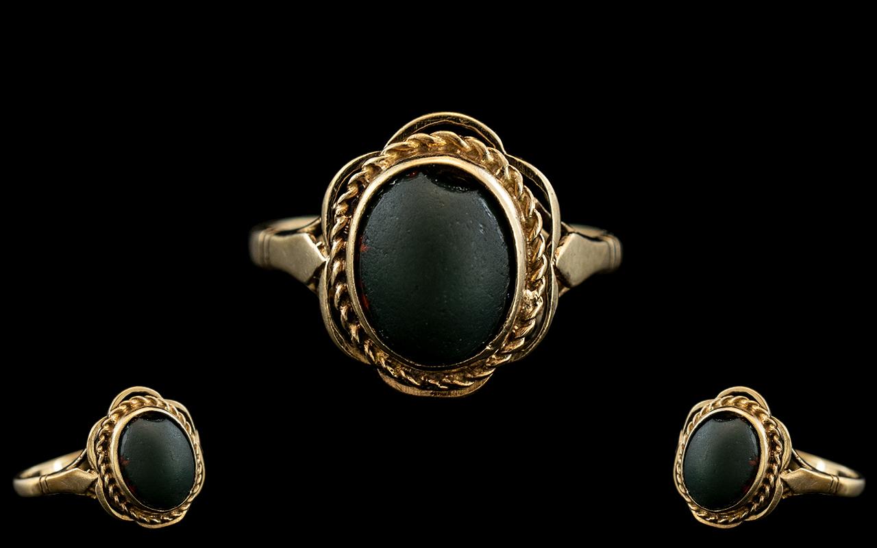 Ladies 9ct Gold Ornate Set Single Stone Black Jet Dress Ring. Hallmark Birmingham 1963, Ring Size N.