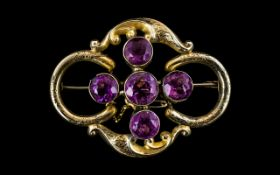 Ladies - Large and Attractive Victorian Period 9ct Gold Amethyst Set Brooch. Marked 9ct Gold. c.