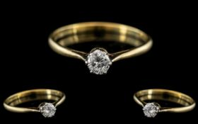 18ct Gold and Platinum Single Stone Diamond Set Ring, Marks Rubbed but Tests 18ct Gold.