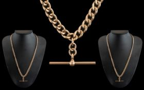 Antique Period - Wonderful 9ct Gold Double Albert Chain, Wonderful Rich Colour and T-Bar.