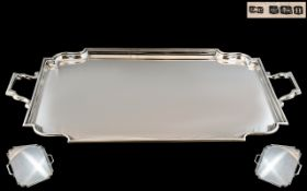 Art Deco Period Superb Sterling Silver Two Handle Tray of Rectangular Form with Art Deco Design.